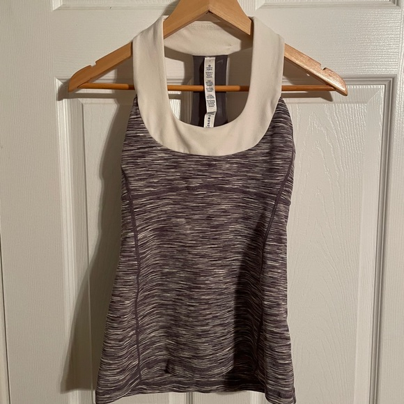 LuluLemon, cream and brown tank top, size 4
